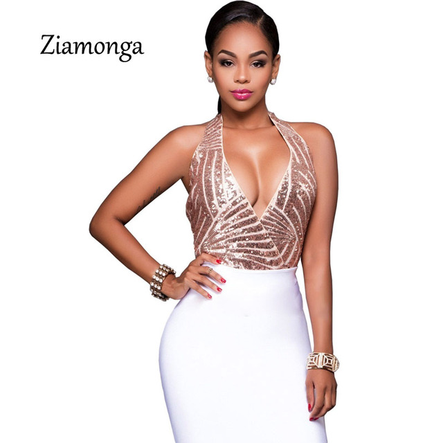 2aa665747ed Ziamonga Summer Style Sequined Rompers Womens Jumpsuit Elegant Gold Sequin  Bodysuit Women Sexy Costume Ladies Playsuit