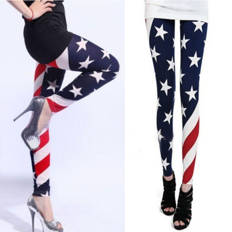 21ba2bdd54a0 2018 American Flag Women Legging Sunflower USA Flag Design Stretch Stripes  Star Print Thin Slim Leggings
