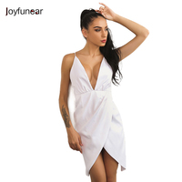 New Arrivals Sexy Club Wears Women Dress Off Shoulder Deep V Neck Asymmetry White Bandage Backless