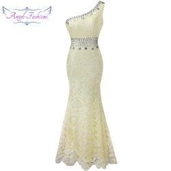 Angel-fashions One Shoulder See Through Crystal  Lace Wedding Dress Apricot 107 1
