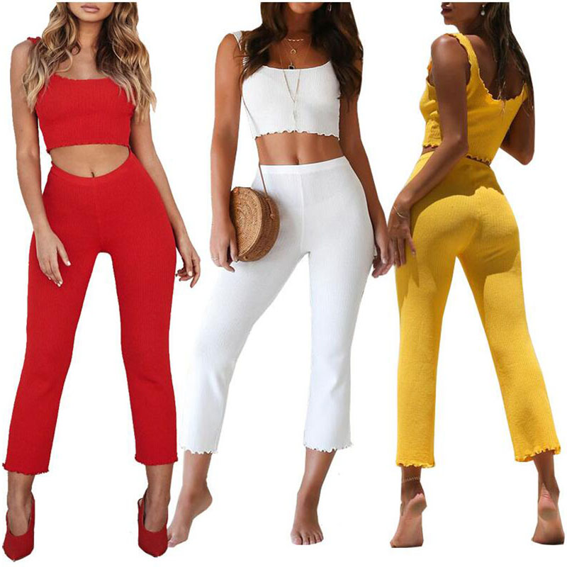 2019 new style womens sets clothes 2 piece set casual tracksuit women crop top and pants outfits suits