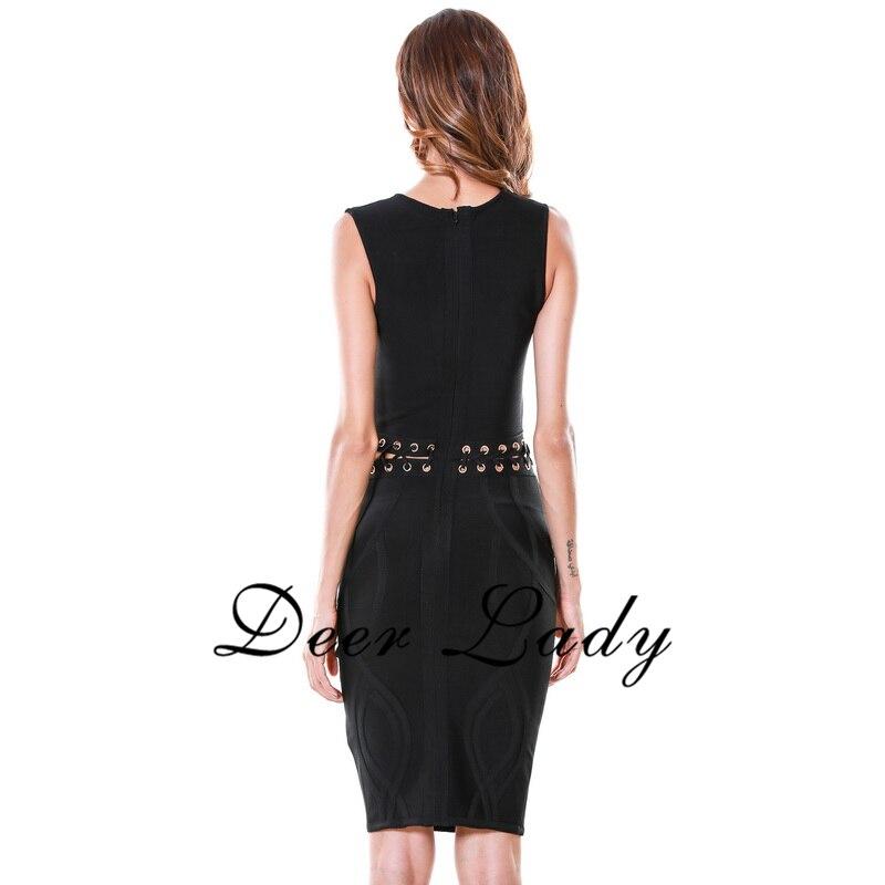 Sleeveless Bandage Dress Rayon Sexy Deep V Neck Dress Knee Lenth Hollow Out Dress 2016 Wholesale HL - 6