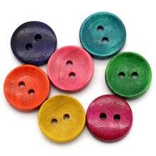 FUNIQUE 50 шт. смешанные деревянные швейные пуговицы 2 отверстия Детские пуговицы для скрапбукинга круглые 15 мм Швейные аксессуары