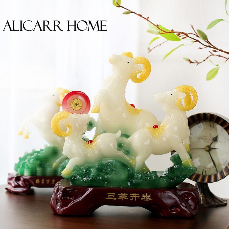 Sanyangkaitai artisanat décoration Feng Shui zodiaque mouton Sanyang cadeau d'anniversaire cadeaux pendaison de crémaillère appréciation