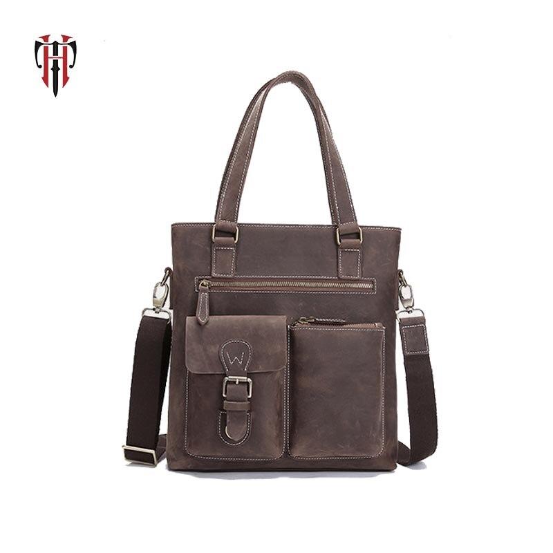 TIANHOO crazy horse leather man bags crossbody vintage casual style messenger handle bag for men Fake designer tote все цены