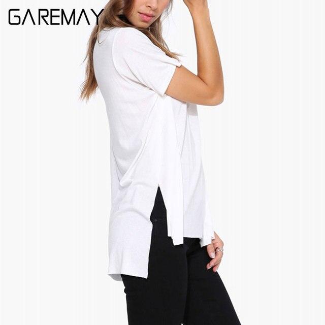 GAREMAY Mujeres Camiseta Blanca Superior Abierta de Punto Camisa ...