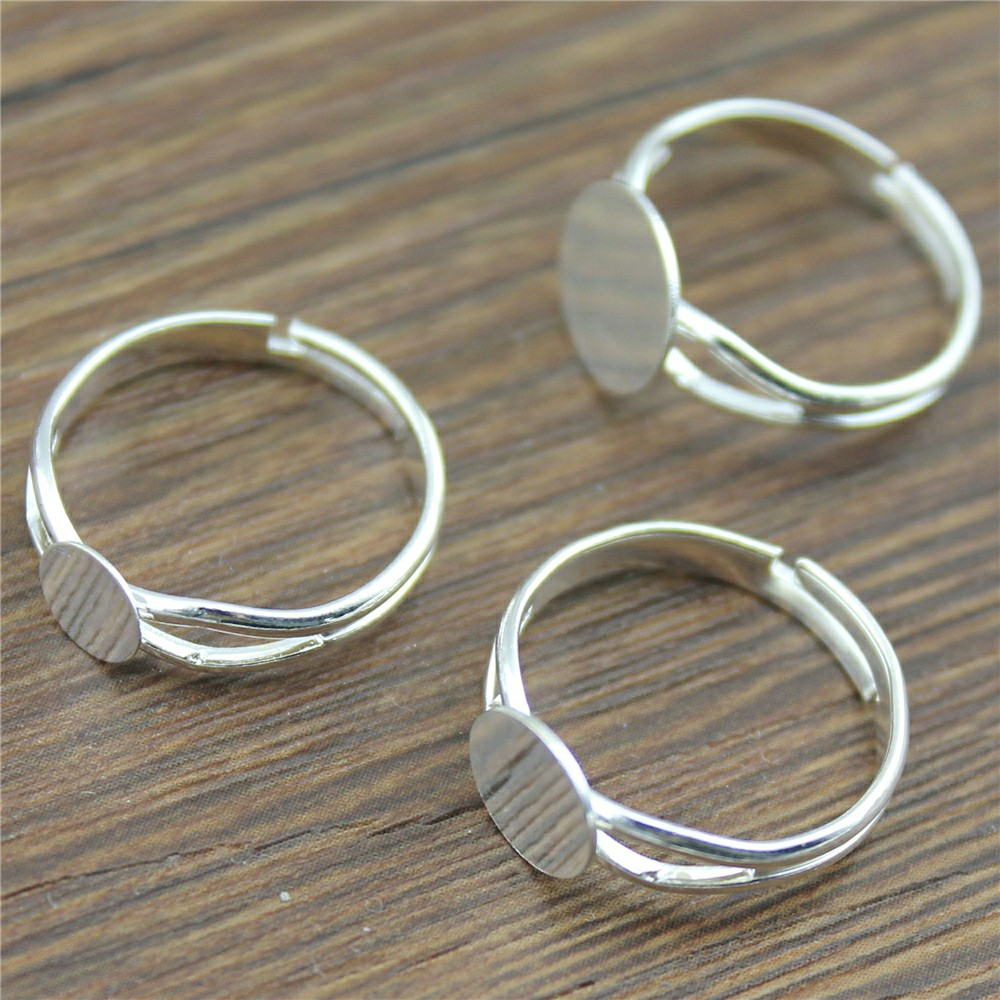 10pcs 6/8/10mm Flat Shiny Silver Color Copper Material Y-Style Adjustable Ring Settings Base