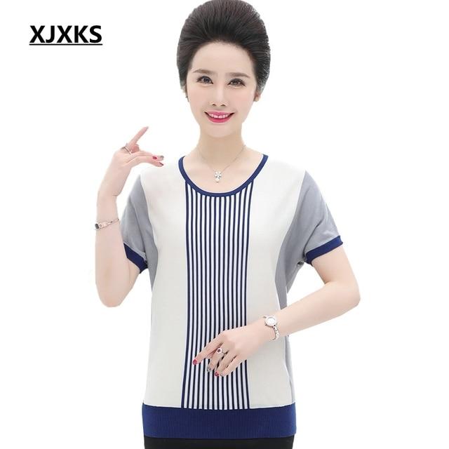 d5f5b46ba7 XJXKS 2019 New Summer Women Tops Plus Size Vintage Modis Breathable Casual  Thin Stripe Knitted Short Sleeve Women T-shirt