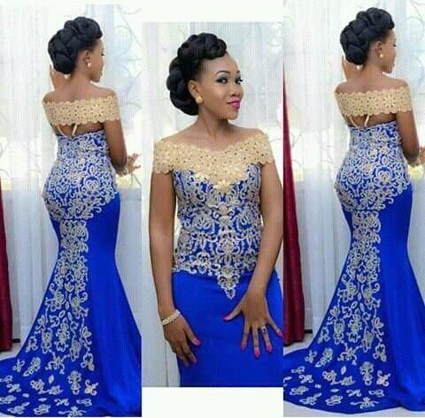 Элегантное длинное вечернее платье Русалка с открытыми плечами с золотой Вышивка пол Длина Африканский Для женщин синий вечерние платья выпускного вечера