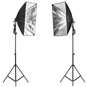 """Image 5 - Andoer fotoğraf seti 2 adet 33 """"beyaz yumuşak ışıklı şemsiye 2 adet 50*70cm Softbox ampul tutucu ile 4 adet 45W ampul vb"""