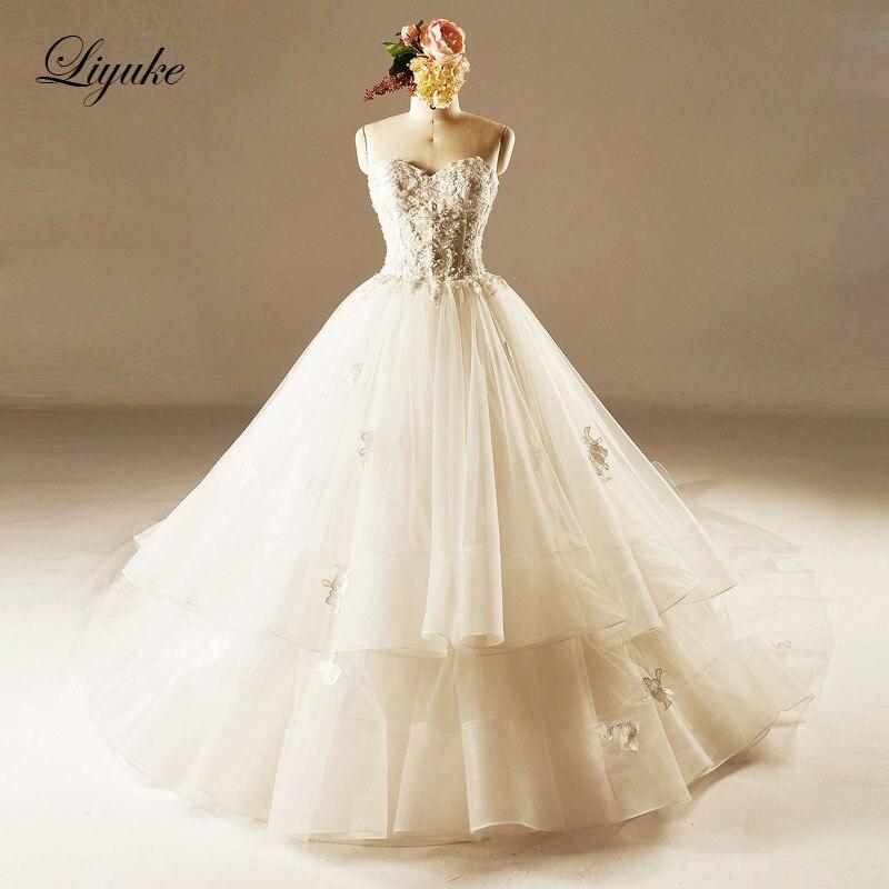 GlamorousTulle Strapless Neckline Ball font b Gown b font font b Wedding b font Dress Beading