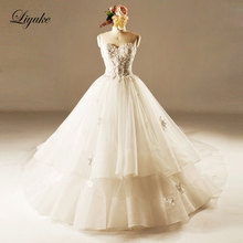 GlamorousTulle Strapless Neckline Ball Gown Wedding Dress Beading Appliques Lace Chapel Train Ball Gown Bridal Dress