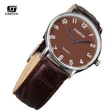 Fashion Men Watch GUOTE Hombres de Cuero Casual Hombres de Los Relojes de Primeras Marcas de Lujo Relojes de Pulsera de Cuarzo Reloj reloj de hombre