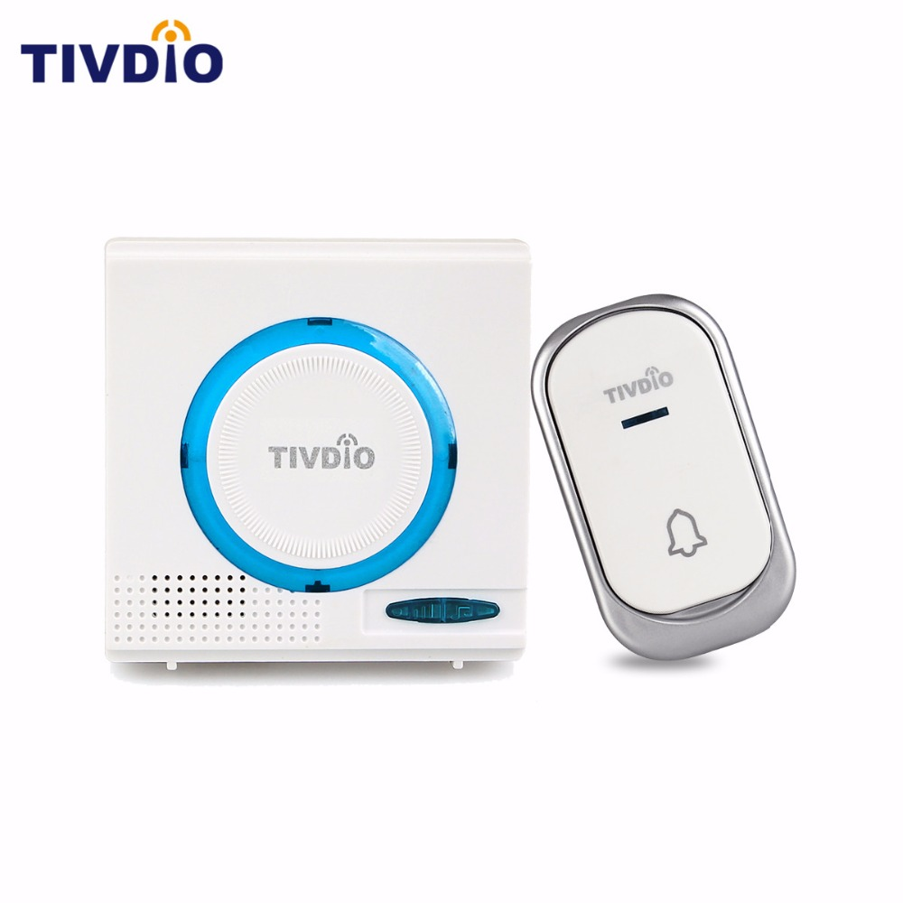 TIVDIO T-802 Wireless Waterproof Battery Doorbell Chime Kit Remote Button With Receiver LED Indicator For Home Security F9508 restaurant pager wireless calling system 1pcs receiver host 4pcs watch receiver 1pcs signal repeater 42pcs call button f3285c