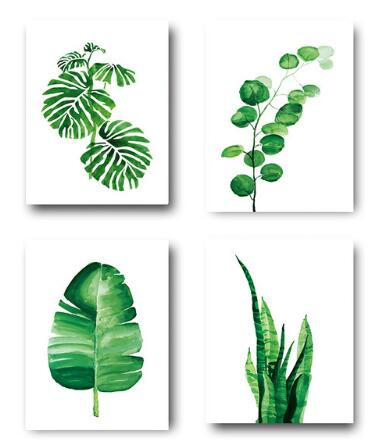 Watercolor Tropical Plants Leaves Wall Art Home Decor Canvas