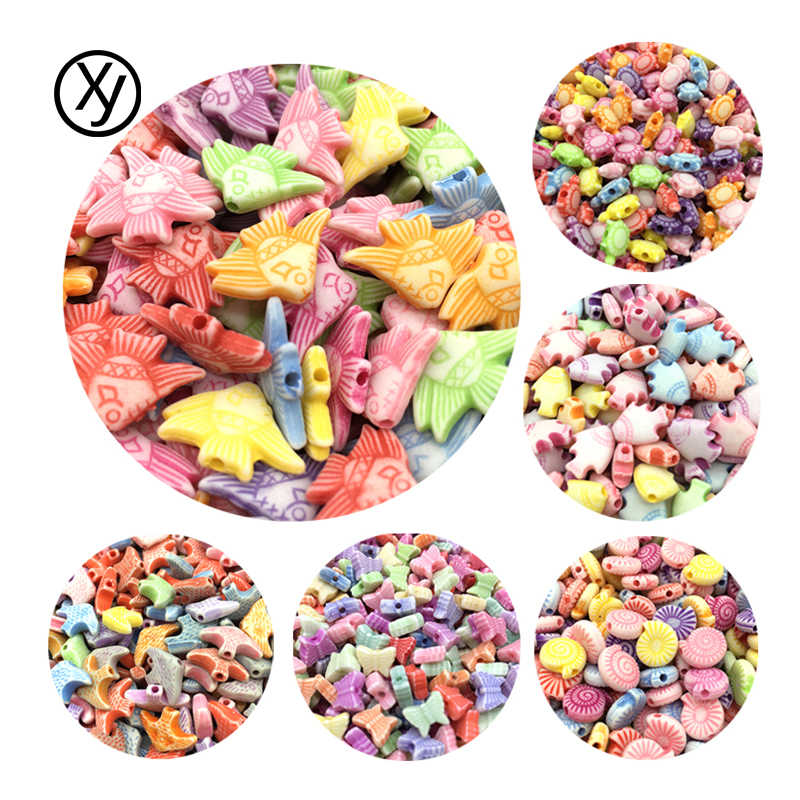 DIY 100pcs/Lot Cheap Animals Shape Acrylic Beads Handmade Bracelet Jewelry Accessories Making Wholesale Color Random Delivery