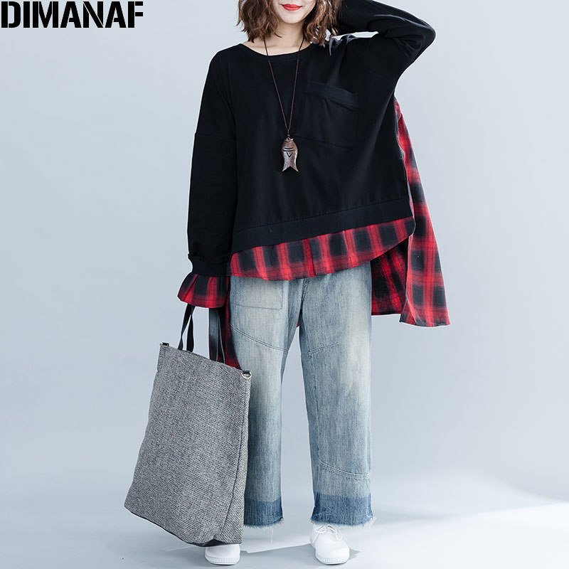 DIMANAF 2019 Plus Size Women Hoodies Sweatshirts Autumn Female Lady Patchwork Red Black Plaid O-Neck Pullovers Cotton Loose Tops