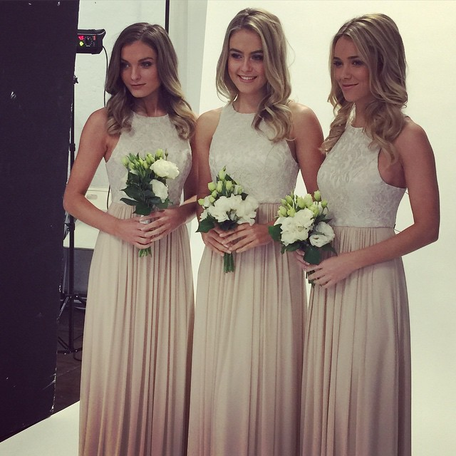 Dresses Elegant High Neck Floor Length Bridesmaid Ivory Top Khaki Wedding Party Dress In From Weddings