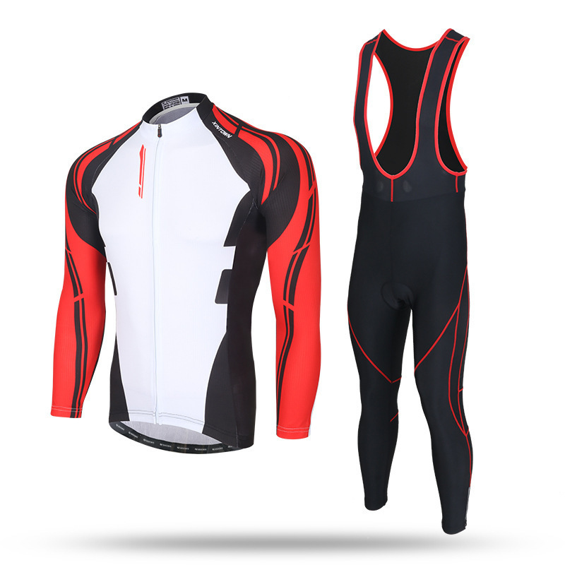 XINTOWN 2018 Men Spring Autumn Men Cycling Jersey Polyester Long Sleeve Set Gel Padded Bib Pants Suit Riding Jersey inbike chy thr men s cycling long jersey top padded pants set white black multicolored xxl