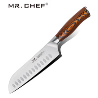 Professional 7Inch Santoku Knives Japanese Multi Kitchen Chef Knife High Carbon German Steel Pakkawood Handle Home Cooking Tools
