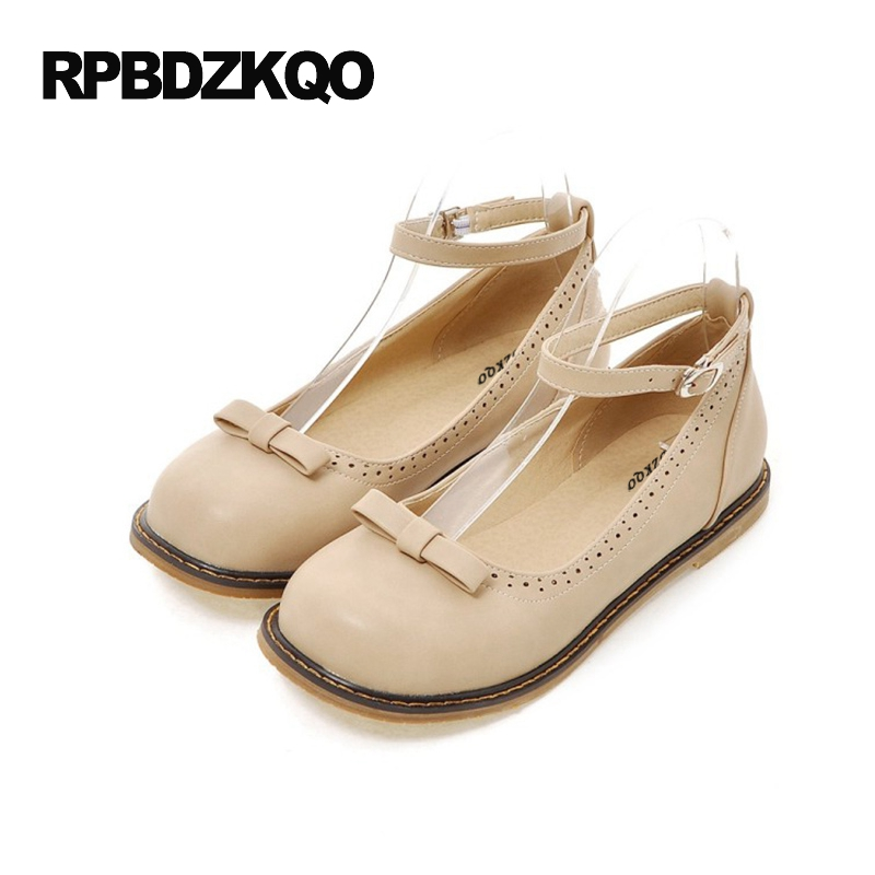 Ladies Platform 2017 Ankle Strap Bow Large Size 10 Shallow Custom Women Flats Shoes With Little Cute Bowtie Round Toe 43 Spring plus size 34 41 black khaki lace bow flats shoes for womens ds219 fashion round toe bowtie sweet spring summer fall flats shoes