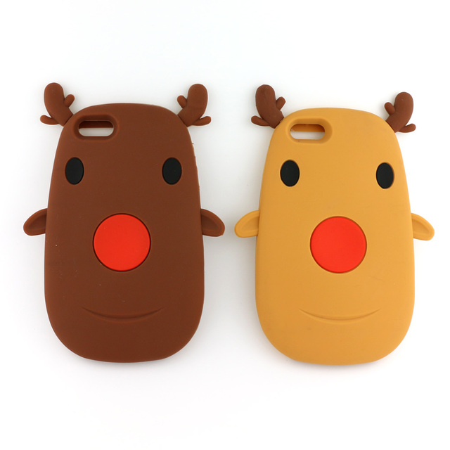 For iPhone 6S Plus 6 6S 5S 5 SE Case 201 7 Christmas Gift 3D Cute Cartoon Elk Deer Soft Silicone Capa Para Back Cover Case