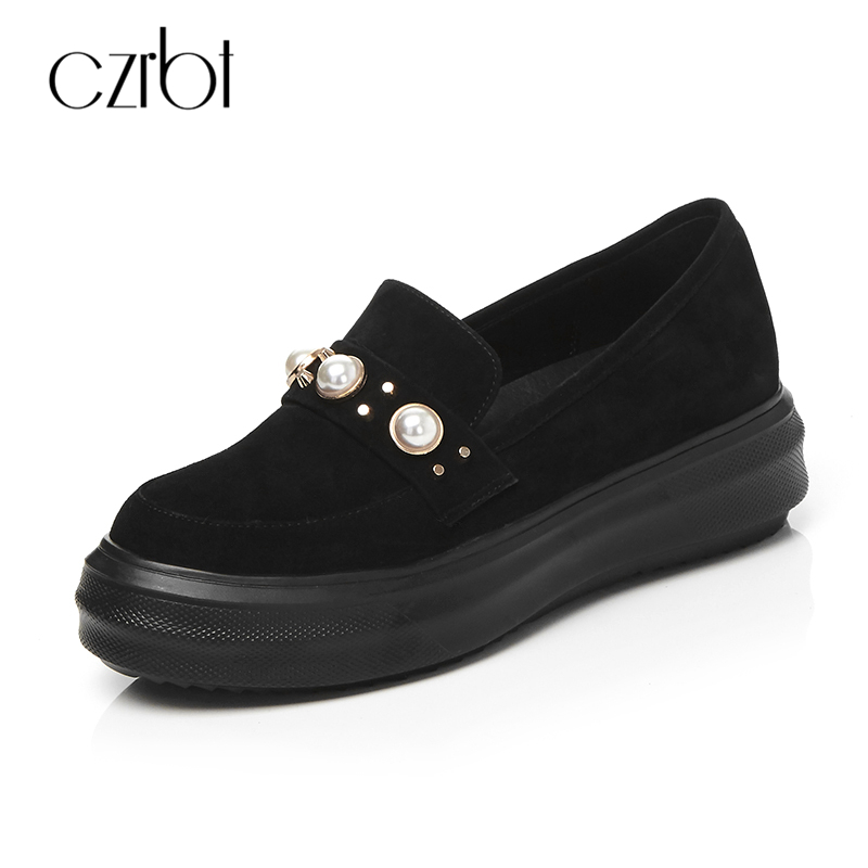 CZRBT Women Shoes Sheep Suede Leather Loafers Fashion Pearl Black Flat Shoes Women's Spring Autumn Slip On Flat Platform Shoes цена