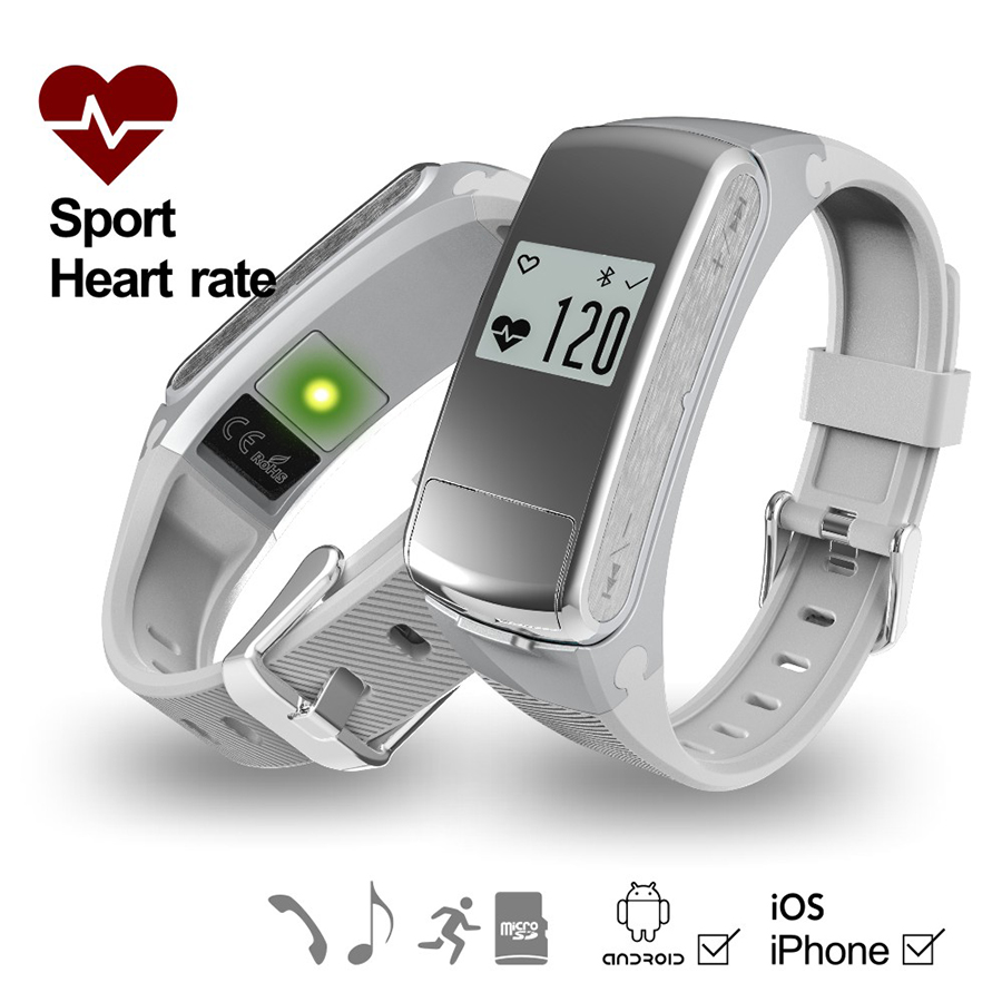 TROZUM Smartband F50 Earphone Headset Heart Rate Monitor Bluetooth Fitness TrackerWristwatch For IOS Android Smart bracelet