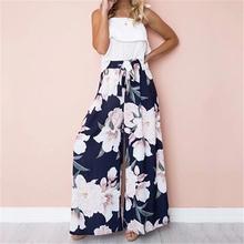 New Women Autumn Flower Print High Waist Pants Floral Trousers Women Drawstring Wide Leg Long Loose