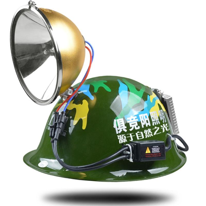 ФОТО JUJINGYANG 55W lighting helmet type 18CM xenon headlight HID hernia fishing 100W safety helmet 12V strong light headlamp