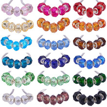50pcs Silver Plated Cut Faceted Large Hole Glass Beads Fit European Pandora Bracelet Spacer Chain Necklace for Jewelry Making 10pcs hot cut faceted color crystal glass beads fit european bracelet spacer original pandora charm bracelet for jewelry making