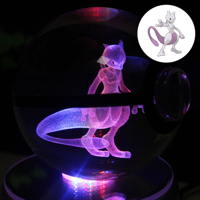 Mewtwo Glass Pokemon GO Pocket Monster Mewtwo 3D LED Night Light Desk Table Lamp Children like the gift theme HUI YUAN