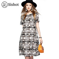 Sishot Women Dress Summer 2017 Short Sleeve Black Polka Dots Print Stripe Ol Knee Length Round