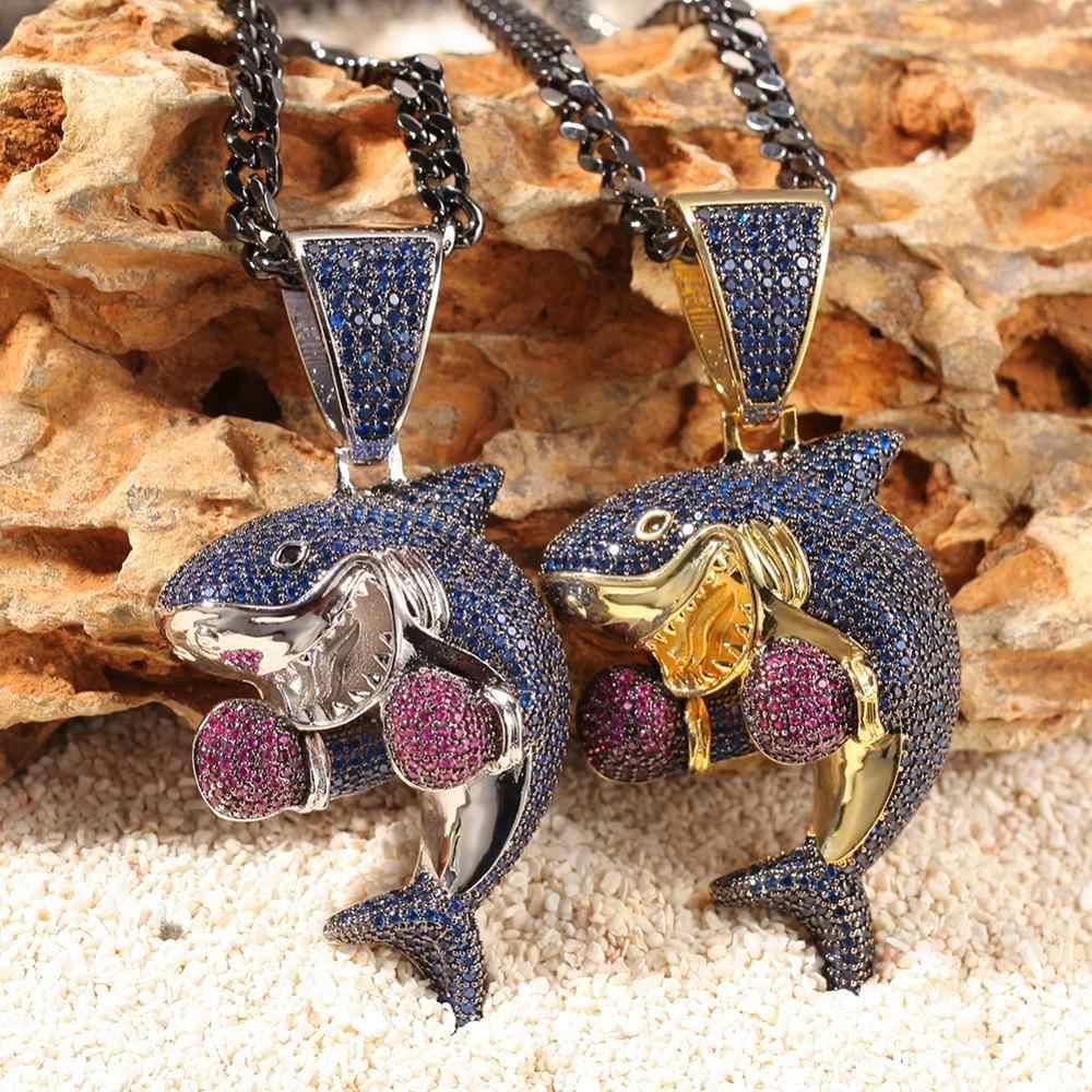 UWIN kolorowe boks rekin wisiorek naszyjnik moda mrożone fioletowy niebieski kolor cyrkonia Shark Hiphop biżuteria Drop Shipping