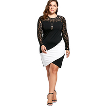 Bobycon Dresses For Women Sexy Lace Robe Plus Size Lace Panel Asymmetric Long Sleeve Dress Black White Mini Vestido 5XL