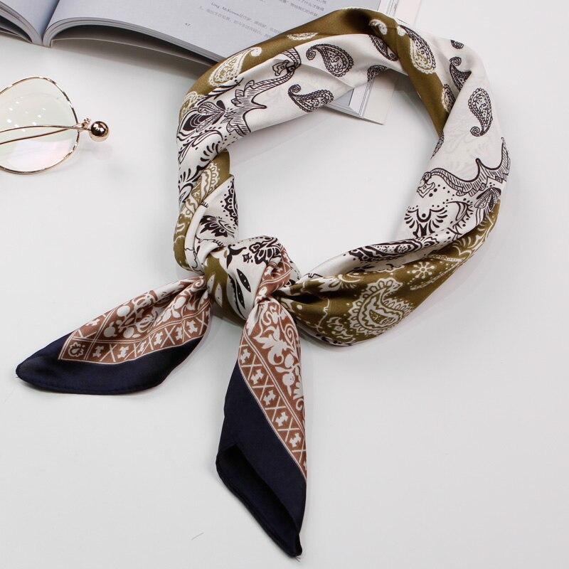 Bandana Women Scarf Luxury Brand Handkerchief Color-Blocked Neckerchief Foulard Square Scarves Fashion Silk Head Scarf 70X70cm