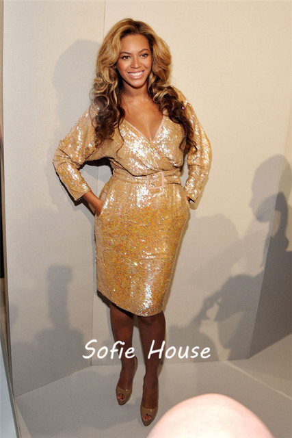 neueste v ausschnitt langarm gold pailletten knielang abendkleid ...