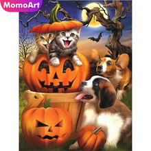 MomoArt Diamond Painting Animal Embroidery Full Square Rhinestone Mosaic Pumpkin Home Decoration