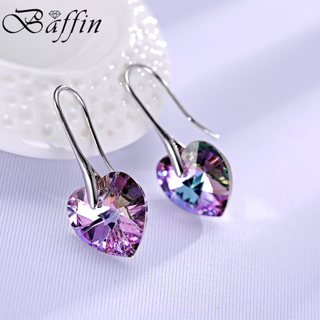 BAFFIN Drop Earrings Hanging Hearts Crystals From Swarovski For Women Party Hot Selling Silver Color Ear Jewelry Friends Gift