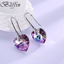 BAFFIN Drop Earrings Hanging Hearts Crystals From Swarovski For Women Party Hot Selling Silver Color Ear Jewelry Friends Gift(China)