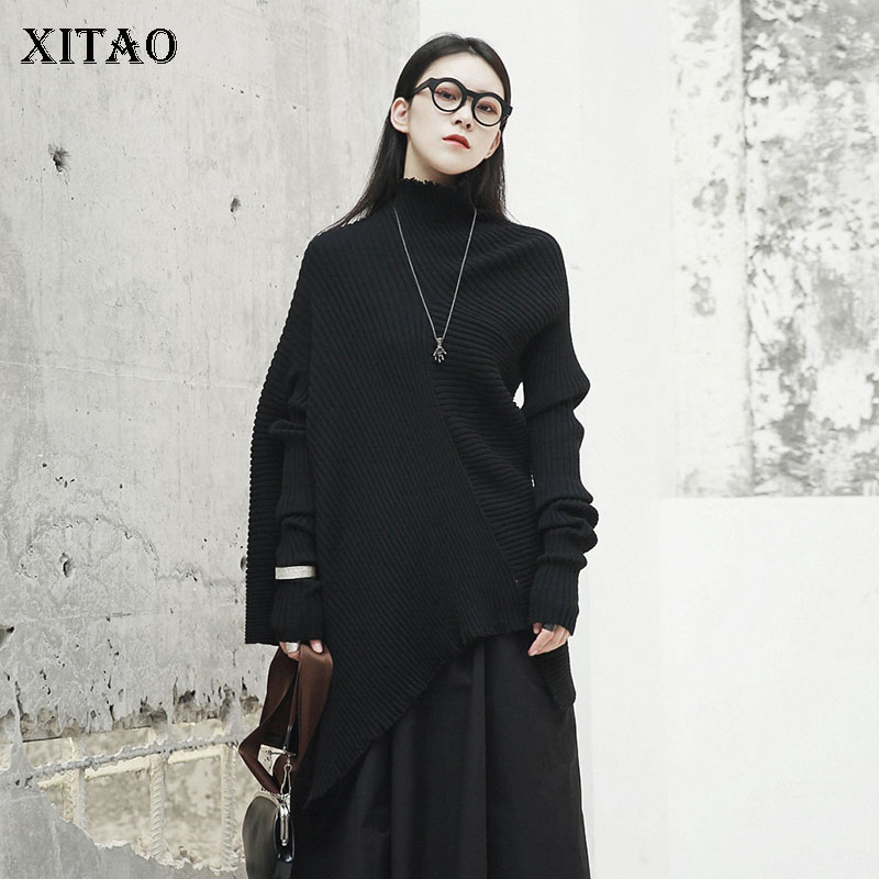 XITAO 2018 Autumn New Women Korea Turtleneck Full Sleeve Casual Knitted Sweater Female Pullover Solid