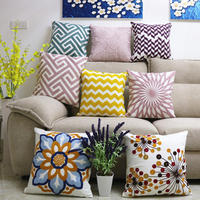 High Quality Cotton Pillow Home Textile Detachable Washable Pillows Geometric Pattern Pillow Sofa Bed Pillow Back