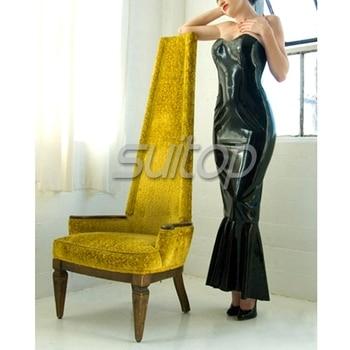 Длинные латексные юбки без бретелек с кружевом