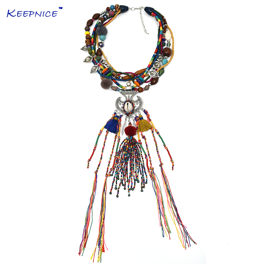 Galleria fotografica New Clothing Accessories Bohemia Boho Ethnic Beaded Tassel Choker Necklace Handmade Colorful Beads Long Fringe Pendants Necklace