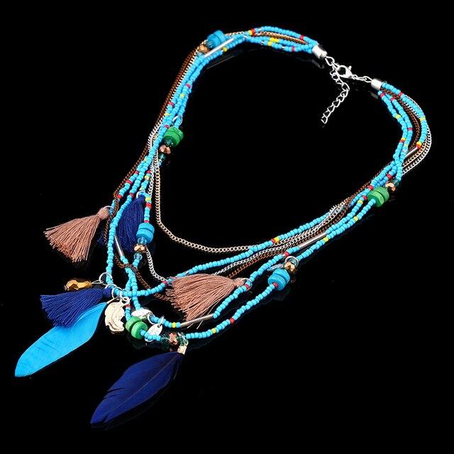 Купить ожерелья naomy & zp в богемном стиле с разноцветными перьями картинки
