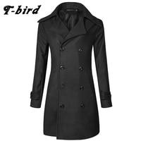 T bird Trench Caot Men 2017 Coat Male Sweater Knitting Jacket Men Slim Lapel Long Section Brand Outwear Men Cotton Jackets XKAMS