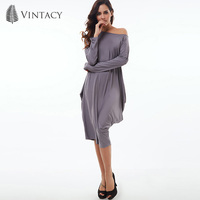 Vintacy Summer Fresh Dress Women O Neck Gray A Line Long Sleeve Party 2018 Plus Size