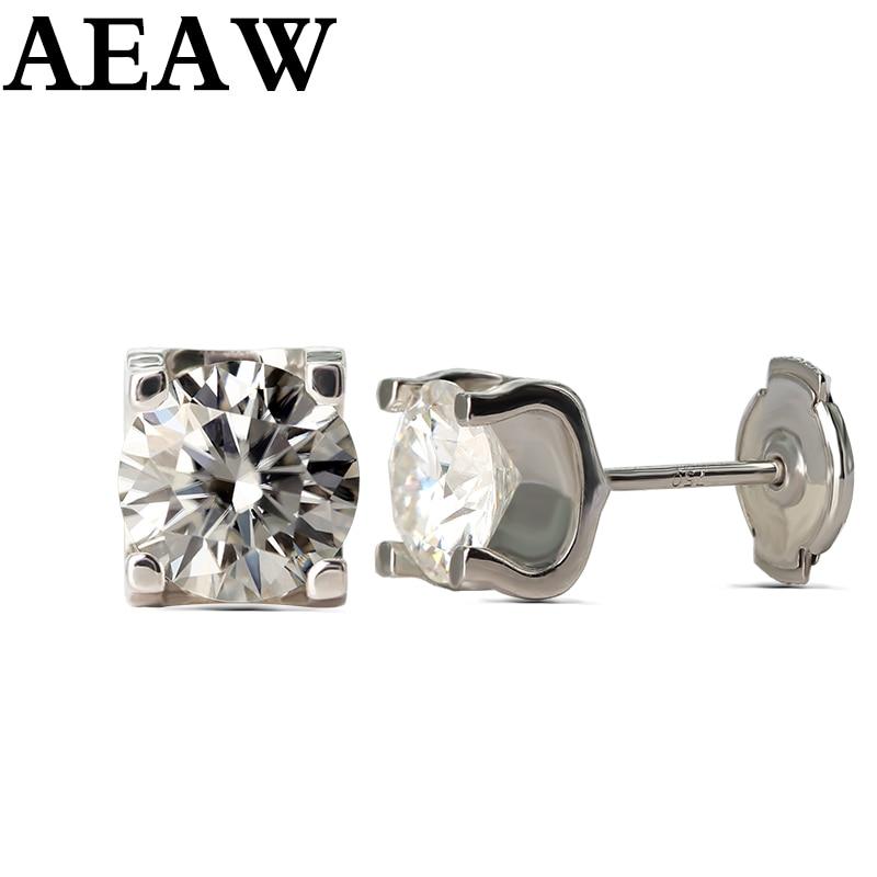 Moissanite Ohrringe 5mm 1ctw Stud Ohrringe Sterling Silber und Solide 18 K Gold Klassische Labor Diamant 4 Prong Ohrringe für Frauen-in Ohrringe aus Schmuck und Accessoires bei  Gruppe 1