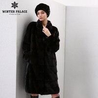 Натуральная зимняя норка женская шуба с компюшоном тёплая модная модель тёплое практичное пальто ЗИМНИЙ ДВОЕЦ