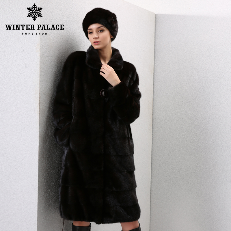 Hiver Véritable Cuir fourrures femmes manteaux de fourrure De Mode long véritable manteau mlnk manteau de fourrure réel mlnk manteau de fourrure
